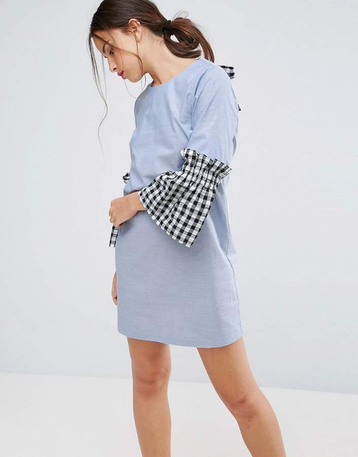 Asos ASOS Shift Dress in Chambray with Gingham Sleeve