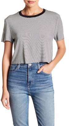 Project Social T Striped Crew Neck Cropped Easy Tee