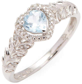 Rina Limor Fine Jewelry 10K Sky-Blue Topaz And Diamond Halo Heart Ring