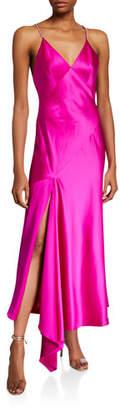Jill Stuart Rhinestone Strap V-Neck Satin Slip Gown