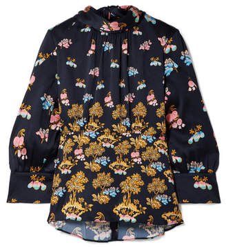 Peter Pilotto Floral-print Hammered-silk Blouse - Navy