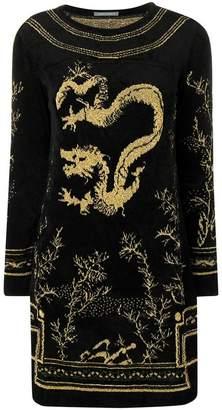 Alberta Ferretti dragon knit sweater dress