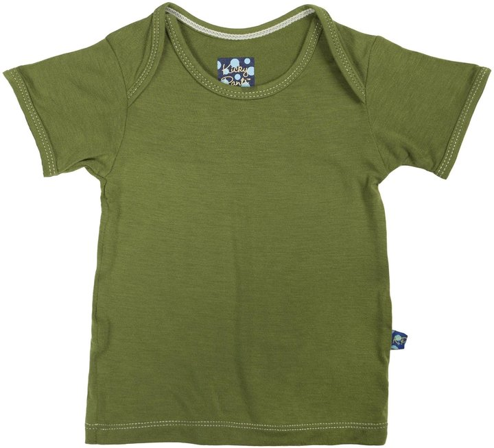 Green Baby KicKee Pants Short Sleeve Tee - Bark-Newborn