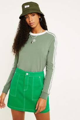 adidas Khaki 3-Stripe Long-Sleeve T-Shirt