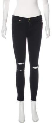 J Brand Blue Mercy Mid-Rise Skinny Cropped Jeans