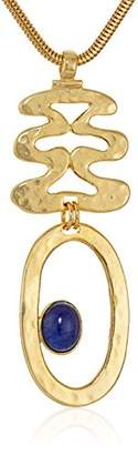 Ben-Amun Jewelry Sculpture Garden Gold Wave Drop Pendant Necklace