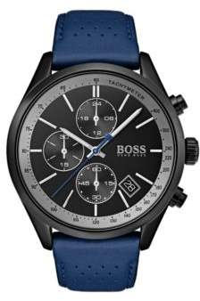 BOSS Hugo Black-dial watch blue perforated leather strap One Size Assorted-Pre-Pack