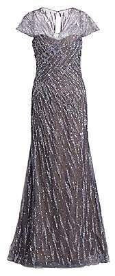 Rene Ruiz Collection Women's Embellished Cap-Sleeve Gown