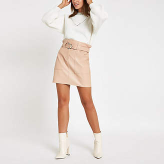 River Island Womens Beige faux leather paperbag waist mini skirt