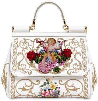 Dolce & Gabbana Medium Sicily Embroidered Top Handle Bag