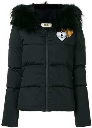 Fendi heart embroidered padded jacket