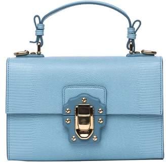 Dolce & Gabbana Lucia Top Handle Bag In Light Blue Calfskin