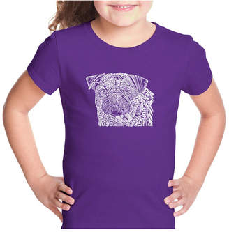 La Pop Art Girl Word Art T-Shirt - Pug Face
