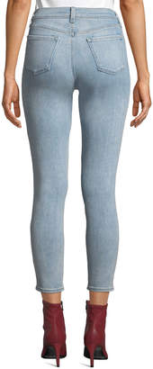 J Brand Jeans Mid-Rise Cropped Washed Skinny Jeans, Blue