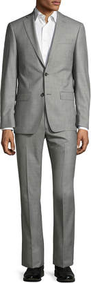 Michael Kors Sharkskin Two-Button Wool Two-Piece Suit, Gray