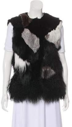 Joseph Fur Patchwork Vest
