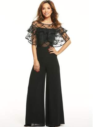 Myleene Klass Ruffle Lace Wide Leg Jumpsuit - Black
