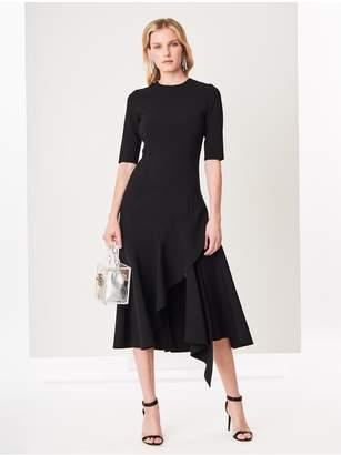 Oscar de la Renta Asymmetric Double-Face Stretch-Wool Dress