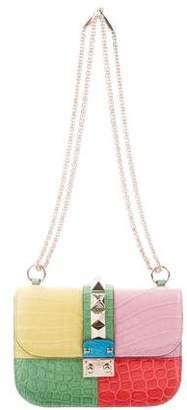 Valentino Crocodile Colorblock Rockstud Small Glam Lock Bag