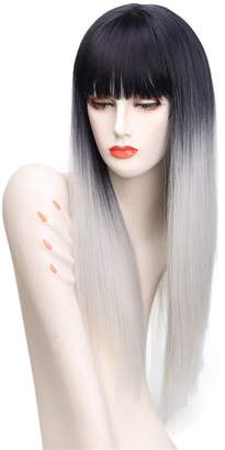 styling/ VIMIKID Sexy Natural Long Straight with Flat Bangs Synthetic Full Wig Like Real Human Hair for Women