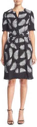 Oscar de la Renta Short-Sleeve Belted Leaf-Print Tweed Coat Dress