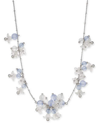 """Kate Spade Silver-Tone Bead & Flower Statement Necklace, 17"""" + 3"""" extender"""