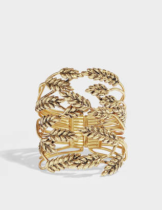 Aurelie Bidermann Wheat Cuff Bracelet in 18K Gold-Plated Brass