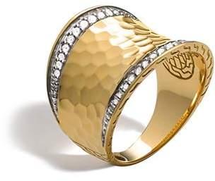 John Hardy Palu 18K Gold & Diamond Pavé Small Saddle Ring