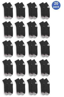 Fruit of the Loom Men's EverSoft Cushioned Cotton Ankle Socks 20 Pack