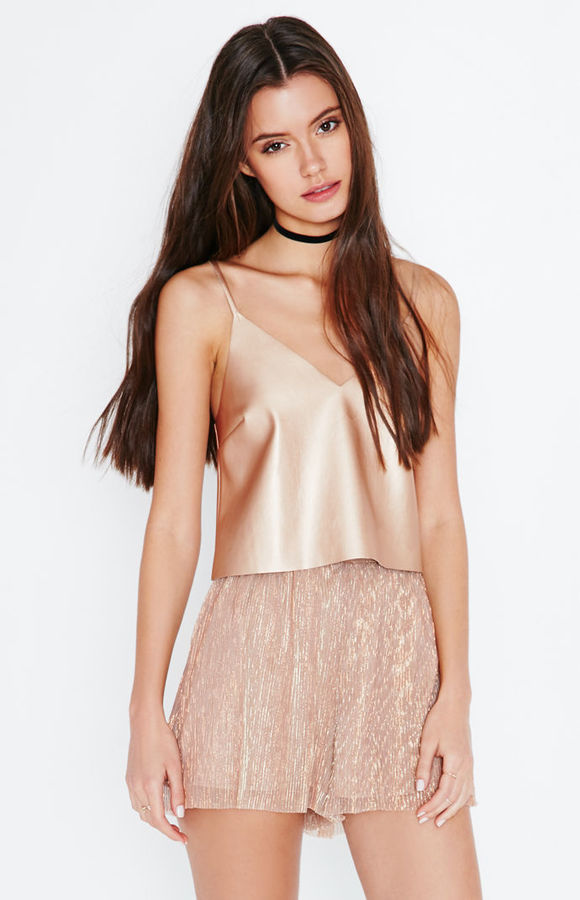 Kendall & Kylie Faux Leather Cami Tank Top