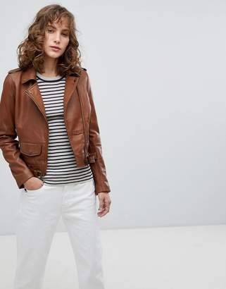 Barney's Originals Leather Biker Jacket With Small Front Pocket