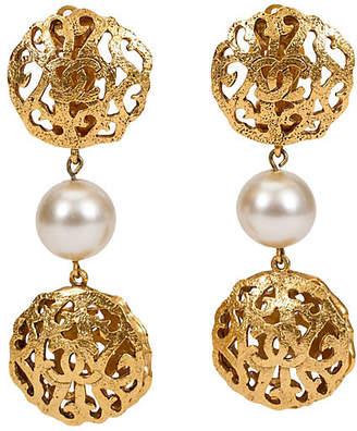 One Kings Lane Vintage Chanel Perforated Pearl Drop Earrings