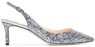 Jimmy Choo Metallic Erin 60 glitter slingbacks