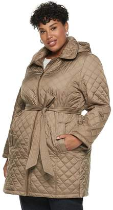 ad9da95cc8f39 London Fog Tower By Plus Size TOWER by Hooded Quilted Belted Jacket