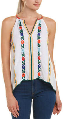 Love Sam Jillian Embroidered Linen-Blend Tank