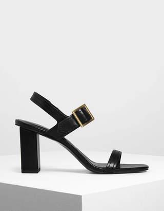 Charles & Keith Buckle Detail Block Heel Sandals