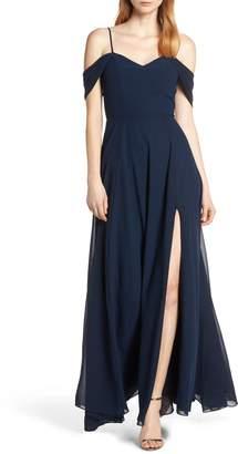 Sequin Hearts Cold Shoulder Lace-Up Back Evening Dress