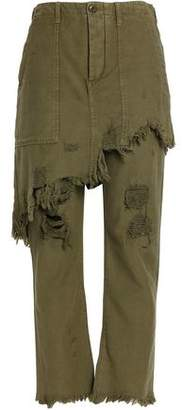 R 13 Layered Distressed Cotton-Canvas Straight-Leg Pants