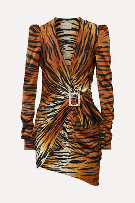 Alexandre Vauthier Embellished Draped Tiger-print Silk-satin Mini Dress - Brown