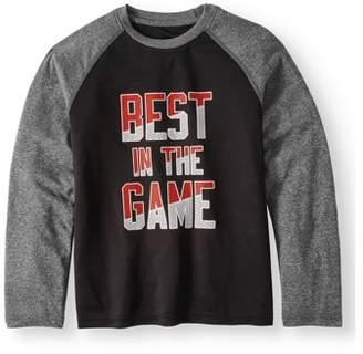 Athletic Works Boys Long Sleeve Raglan Graphic Tee Shirt