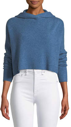Theory Halo Cropped Hooded Cashmere Sweater
