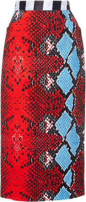 Stella Jean Snake-Print Cotton-Blend Pencil Skirt Size: 38