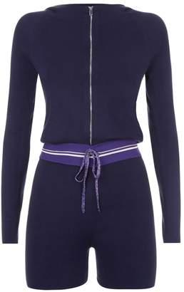 La Perla La Perla | Silk Soul Blue Silk Knit Hooded Romper With Lurex Trim | Xxs | Blue