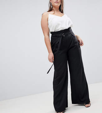 Missguided Plus Paper Bag Waist Belted Trousers