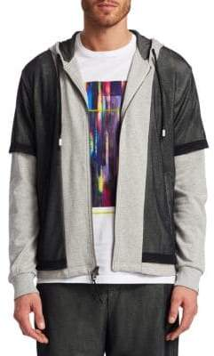 Saks Fifth Avenue x Anthony Davis Mesh Overlay Full Zip Hoodie