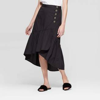 Who What Wear Women's Low Wrap Midi A Line Skirt Black