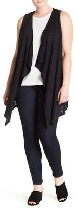Bobeau Flounce Hem Long Vest (Plus Size)