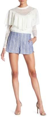 Alice + Olivia Madison Striped Linen Blend Shorts