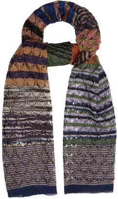 Missoni Diamond-laddered knitted scarf