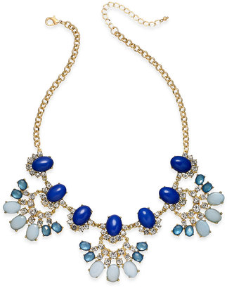 INC International Concepts Gold-Tone Blue Stone Statement Necklace, Only at Macy's $39.50 thestylecure.com